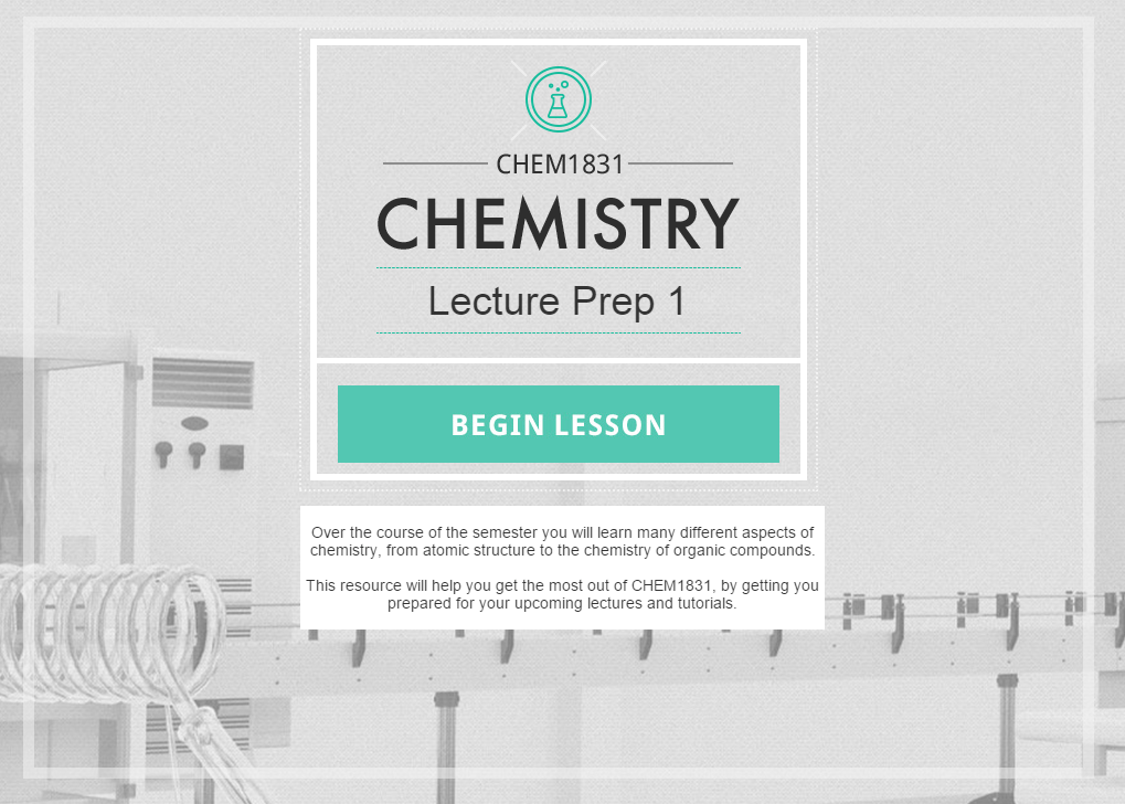 Intro screen to the chemistry lesson