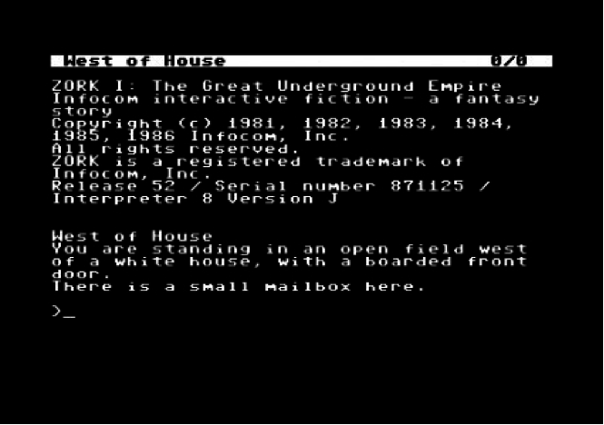 Example of a text-driven adventure game